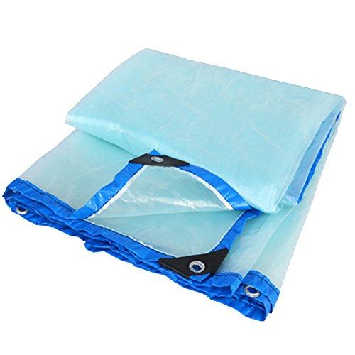 LIANGJUN Bâche De Protection Polyéthylène Étanche À La Poussière Coupe-Vent Épaissir Facile À Plier De Plein Air Toit, 200g / M² (Couleur : Transparent+Blue Edge, Taille : 5 m x 6 m)