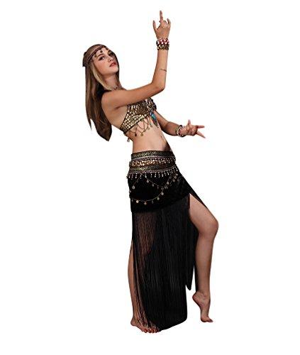 SunWanyi Damen Sexy Bauchtanz Performance Rock Anzug Tribal Oriental Arabian Belly Dance Rock Anzug(Referenz Beschreibung)