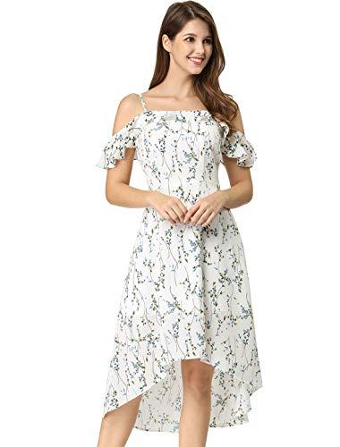 Allegra K Women's Spaghetti Straps Ruffled Sleeves Asymmetrical High Low Floral A-Line Midi Dress XS White Blue