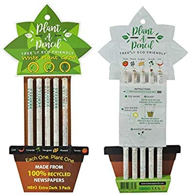 Recycled News Papers Plant able Pencils HB#2 Extra Dark Made From 100% Recycled Newspapers 100% Eco Friendly 5 Assorted Seeds (Office Product)