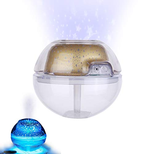 Pamura - STERNBALL - Aromaöl Diffuser - Luftbefeuchter - Lufterfrischer - Aroma Diffuser - Sternen Projektor - Ruhig Schlafen - Gold