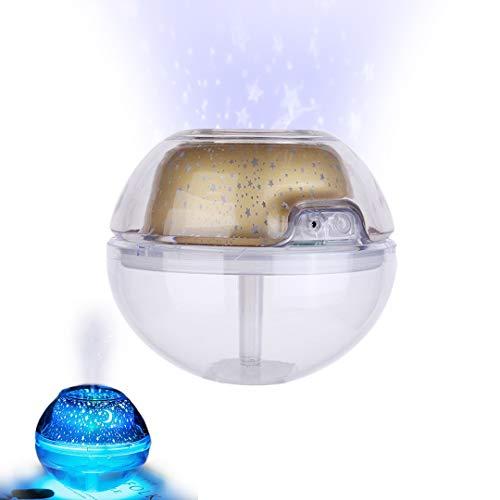 Pamura - STERNBALL - Aromaöl Diffuser - Luftbefeuchter - Lufterfrischer - Aroma Diffuser - Sternen Projektor - Ruhig Schlafen (Gold)