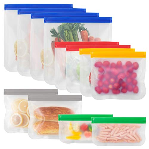 FREDI Stasher Bags 12pcs Reusable Silicone Freezer Food Storage Bags Extra Thick Leakproof Ziplock Bag