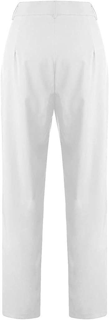 HENWERD Womens Casual Plus Size Solid Color Loose Pants High Waist Comfy Trousers