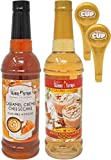 2 Coffee syrup flavors 25.4 Oz bottles; 1 - Caramel Creme Cheesecake sugar free syrup for coffee 1 - White Chocolate Mocha sugar free syrup for coffee; 2 - By The Cup Syrup Pumps; Dispense syrup easily, with no mess; Dispenses 8 mL (1/4 ounce) of syr...
