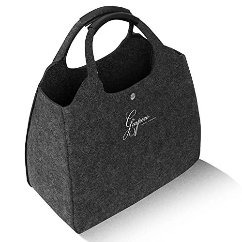 Giupeco Filztasche - 40x30x20 cm 15 L Volumen großer Filztaschen Shopper grau - robuste wasserabweisende Handtasche - XXL vegane Einkaufstasche - 15 KG belastbare Filztasche groß Geschenk für Damen