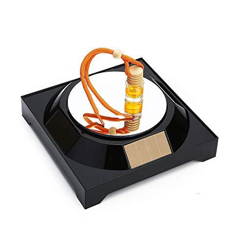 qianger Solarbetriebener drehbarer Ständer, 360 drehbarer Plattenspieler-Displayständer für Display Art Jewelry Watch Phone-schwarzer Spiegel_4 Stück