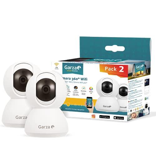Oferta de Garza ® Smarthome - Pack 2 Cámaras de Vigilancia Interior inteligente Wifi 360°, 720P HD, Visión Nocturna, Detección De Movimiento, Audio Bidireccional, Control remoto a través de app.