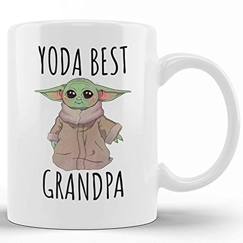 Tazas de café de cerámica de la novedad Yoda Best Grandpa Grandpa Gift from Granddaughter Taza de té divertida Taza de regalo con palabras divertidas para el Festival de Acción de Gracias de Navidad A