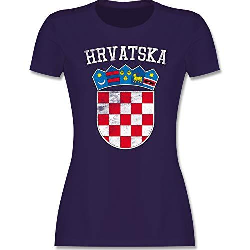 Fußball-Europameisterschaft 2020 - Kroatien Wappen WM - XL - Lila - kroatische Fussball Trikot - L191 - Tailliertes Tshirt für Damen und Frauen T-Shirt
