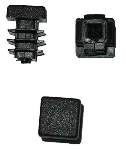 5 x Côtelé branche tube carré bouchons 15 x 15 mm (extérieur)-plug-noir