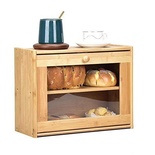 Bamboo Bread Box, Double Layer Bread Bin With Clear Front Window, Large Capacity Bread Storage BinHolder For Kitchen, Countertop Bread Keeper, 40 X 30.5 X17cm