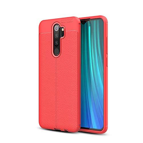 Cruzerlite Redmi Note 8 Pro hülle, Carbon Fiber Texture Design & Leather Texture Design Back Cover Anti-Scratch Shock Absorption Case Schutzhülle für Xiaomi Redmi Note 8 Pro (Leather Red)