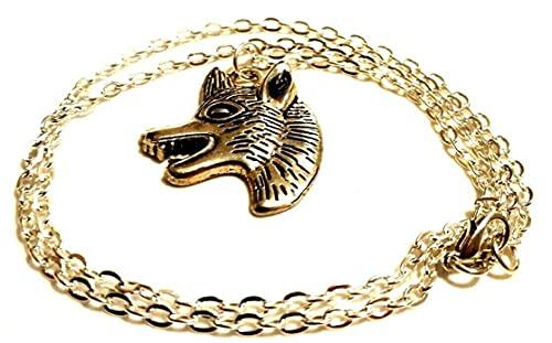 Collar tibetano de plata de lobo salvaje en una cadena chapada en plata de 55,8 cm G.O.T joyería de fantasía Cosplay Nymeria Halloween Fox Animal Lover regalo