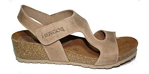 Hergos H138 Sandalo Donna Raja Tortora Chiusura a Velcro (38 EU)