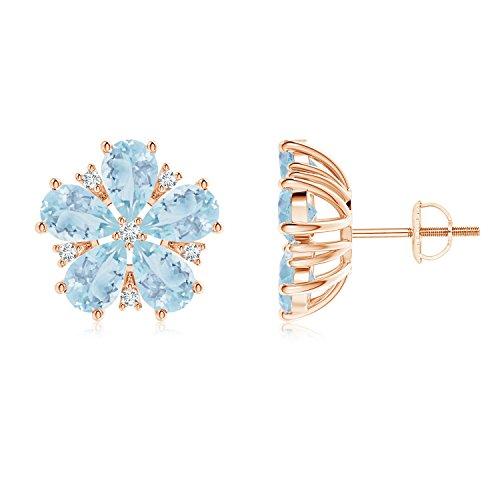 Prong Diamond y pera aguamarina flor Stud Pendientes
