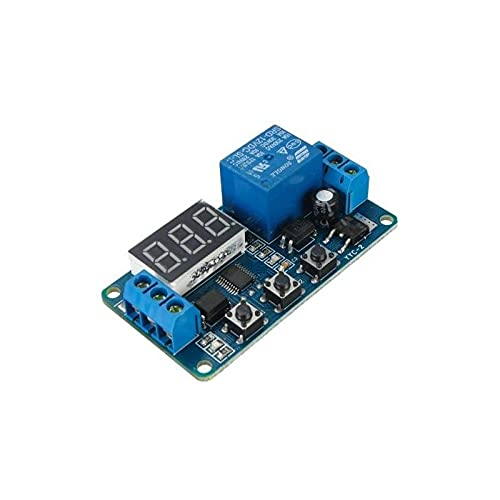 Módulo de relé de temporizador programable digital, 12 V/10 A, con interruptor automático y pantalla LED.