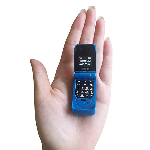 LONG-CZ J9 Latest Smallest Mini Flip Bluetooth Dialer with Voice Changer Mobile Cell Phone (Blue)