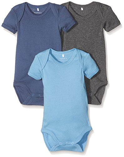 NAME IT Baby-Jungen NITBODY 3P SS SOLID NB B NOOS Body, Mehrfarbig (Dusk Blue), 74 (3er Pack)