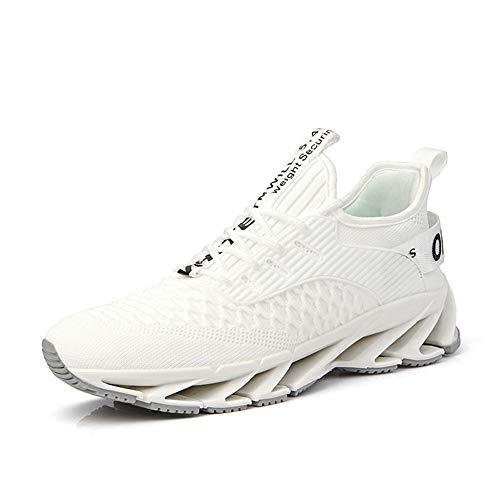 Herren Sneakers, New Spring Sportschuhe Blade Schuhe, Schnürbare atmungsaktive gestrickte Casual Running Low-Top Sneakers-white-44