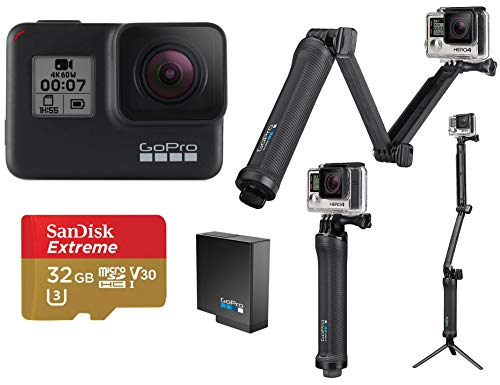 GoPro HERO7 Black - Bundle with 3-in-1 Mount, Extra Rechargeable Battery, and 32GB Card