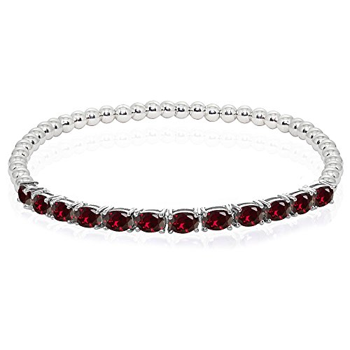 Sterling Silver Synthetic Ruby Oval Beaded Stretch Tennis Style Bracelet