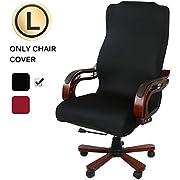 CAVEEN Bürostuhl Bezug, Bezug für Bürostuhl Computerstuhl Bürostuhl husse Drehstuhl bezug drehbar abnehmbar Bürostuhl Überwurf Bezug für Sessel Schonbezug für Büro, Schwarz, Large