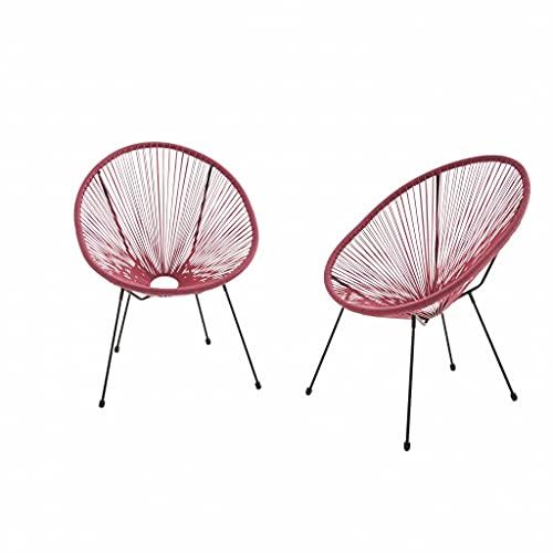 Alice's Garden Lot de 2 fauteuils Design Oeuf - Acapulco Bordeaux - Fauteuils 4 Pieds Design rétro. Cordage Plastique. intérieur/extérieur