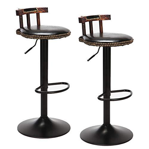 UNHO 2 - Sgabello da bar industriale, regolabile in altezza di 60-80 cm, sedia da bar girevole, design alto, con schienale e poggiapiedi, comoda seduta in legno e metallo