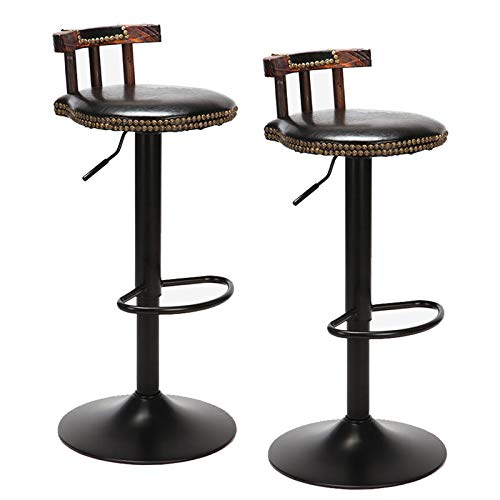 unho 2PCS Taburetes Altos de Bar Taburete Retro Vintage de Cuero Altura Ajustable de 60-80cm Giratorio de 360 Grados Ideal para Bar Bistro Restaurante Cafetería Hogar (Negro)