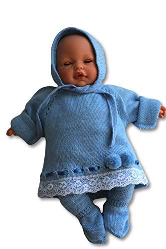 TextiVera conjuntos bebé para recién nacido (0/1/3 meses) de punto con gorro mono (azul, 0 mes)