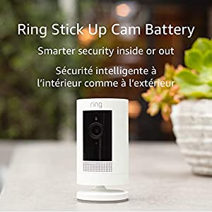 Ring Stick Up Cam Battery HD security camera with two-way talk, Works with Alexa – White – 2-Pack