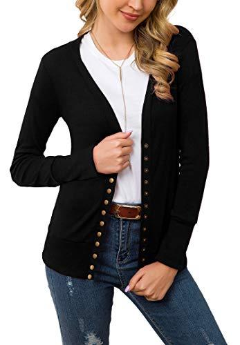 Cowear Women's S-3XL Solid Button Front Knitwears Long Sleeve Casual Cardigans Black S