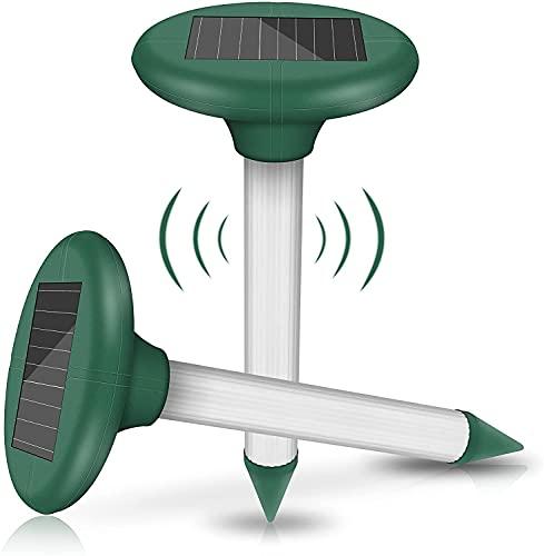 2 Piezas Ahuyentador de Topos Solar, Repelente Solar de Lunares, Disuasor de Topos LED ultrasónico, Impermeable IP65 para Jardin Anti Topos, Ratones, Ratas, Serpientes, Insectos al Aire Libre