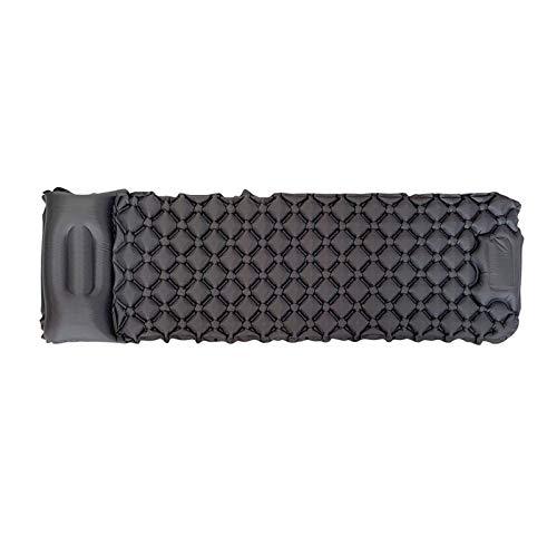 Almohadilla inflable para dormir, colchón de aire, portátil, a prueba de humedad, para tiendas de campaña, camping, senderismo, ligero, resistente al agua, color negro