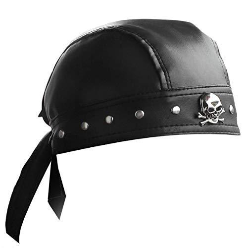 punkman2000 Leather Bandana Biker Doo Do Rag Headwrap Studded Skull Cap Capsmith Du Rag Black