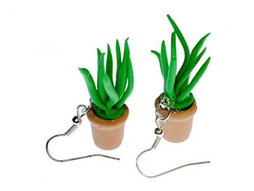 Aloe vera planta de flores pendientes Miniblings planta en maceta hierba para gatos trabajo hecho a mano