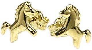 9 carats Or Jaune 375//000 0,35gr T/ête de Cheval Poney So Chic Bijoux /© Boucles doreilles Dormeuses Enfant