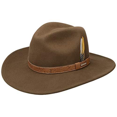 Stetson Cappello Wide Brim VitaFelt Western Uomo - Made in USA Feltro di Lana da Pioggia con Fascia Pelle Autunno/Inverno - S (54-55 cm) Marrone