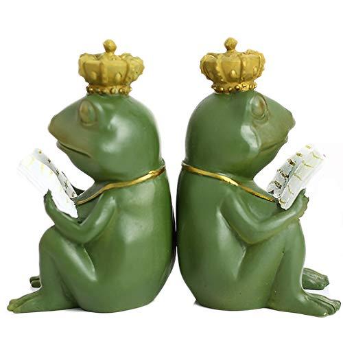 Taorong hars kunst boekends, 1 paar schattige kikker prins boekensteun nonskid leerzame kikker sculpturale boeken grappige boek standaard houder voor kinderen leren geschenken, groen