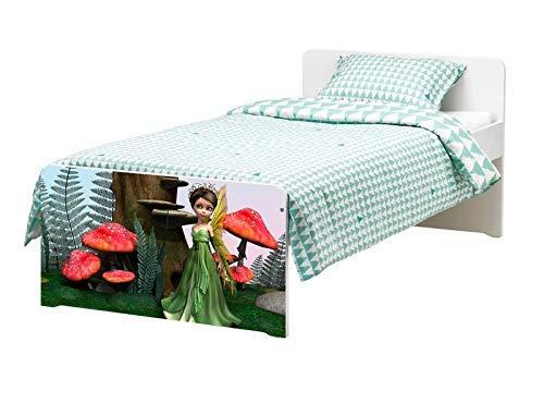 Möbelaufkleber für Ikea SLÄKT Bett Fee Wald Kinderzimmer Kat2 Pilze Prinzessin bed Aufkleber Möbelfolie Tür sticker Folie (Ohne Möbel) 25K181