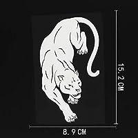 車の装飾 8.9CMX15.2CMインテリアワイルドキャットブラックパンサージャングル部族ビニール車ステッカーブラック/シルバー ビニールステッカー (Color Name : Silver)