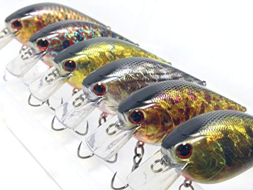 wLure Minnow Crankbait for Bass Fishing Bass Lure Jerkbait Fishing Lure (HC25KB4, with Tackle Box)