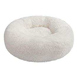 Hollypet Donut Cat Bed Calming Dog Bed, Warm Cave Nest Sleeping Bed Puppy House for Cats and Small Dogs