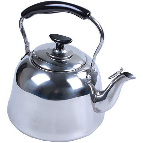 dingtian Tetera De Silbadora Tetera Whistling Tea De Acero Inoxidable, Estufa, Tetera, Base Delgada, Peso Ligero, Ebullición Rápida, 2l