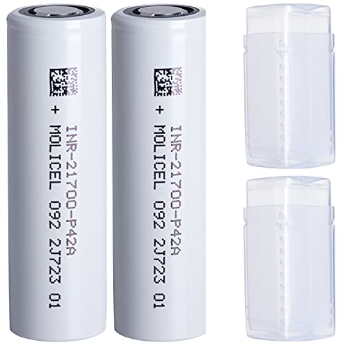 2 Molicel P42A 21700 4200 mAh Akkus INR für E-Zigarette Batterien Akku Dampfen Akkus für dampfer E-Zigarette + Akkubox
