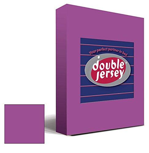 #26 Double Jersey Jersey Spannbettlaken, Spannbetttuch, Bettlaken, 160x200x30 cm, Prune - 2
