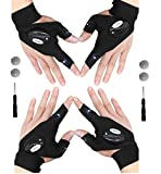 2 Pairs Flashlight Gloves, Fingerless LED Flashlight Gloves, Handsfree flashlight, Chrismas Gifts Presents, Hands Free Flashlights for Working in Darkness, Fishing, Repair, Camping, Hiking, Running