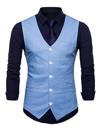 Herren Weste Silm Fit Smoking Waistcoat Slim Fit Hochzeit Sakko Classic Herrenanzug Männer Blazer Vest Partei Freizeit Anzugweste Jungs (Color : Licht Blau, Size : S)