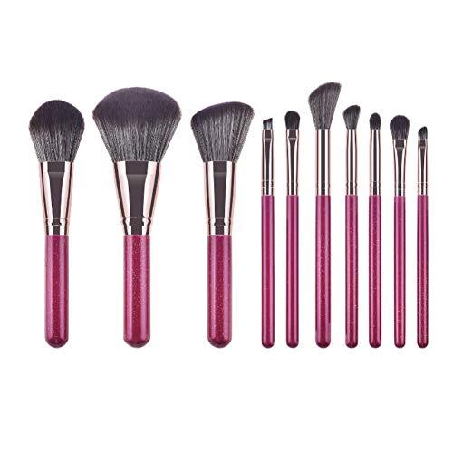 Drawihi Pinceaux Maquillages Premium Coloré Fondation Mélange Blush Yeux Visage Poudre Brosse Cosmétiques 11Pcs (violet)